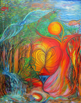 Dancing with the trees. Original oil on canvas. Chantal Guillou-Brennan